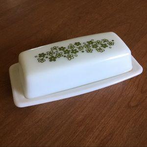 Vintage Pyrex butter dish * green flowers